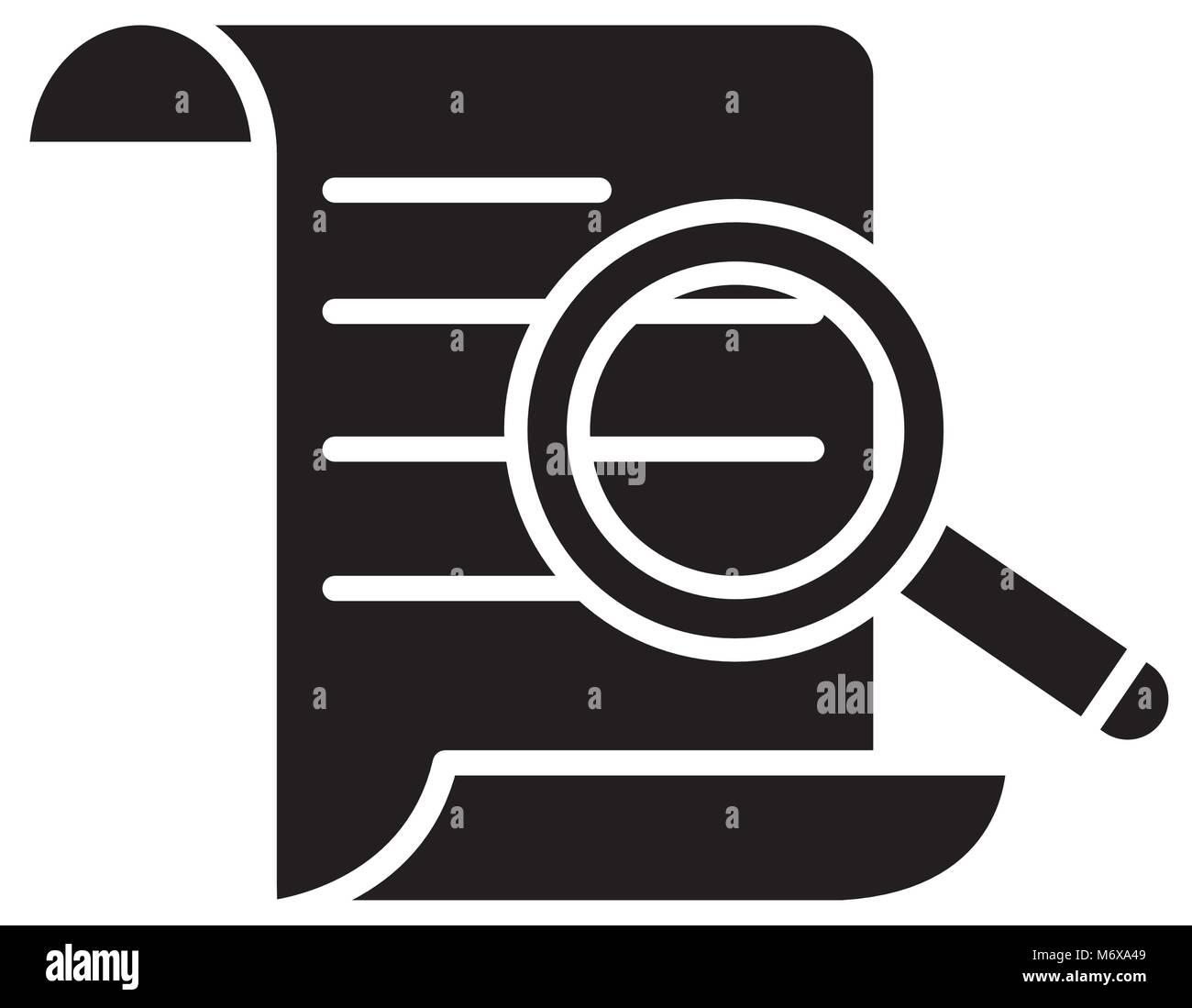 Silueta de papel información del documento con lupa ilustración vectorial  Imagen Vector de stock - Alamy