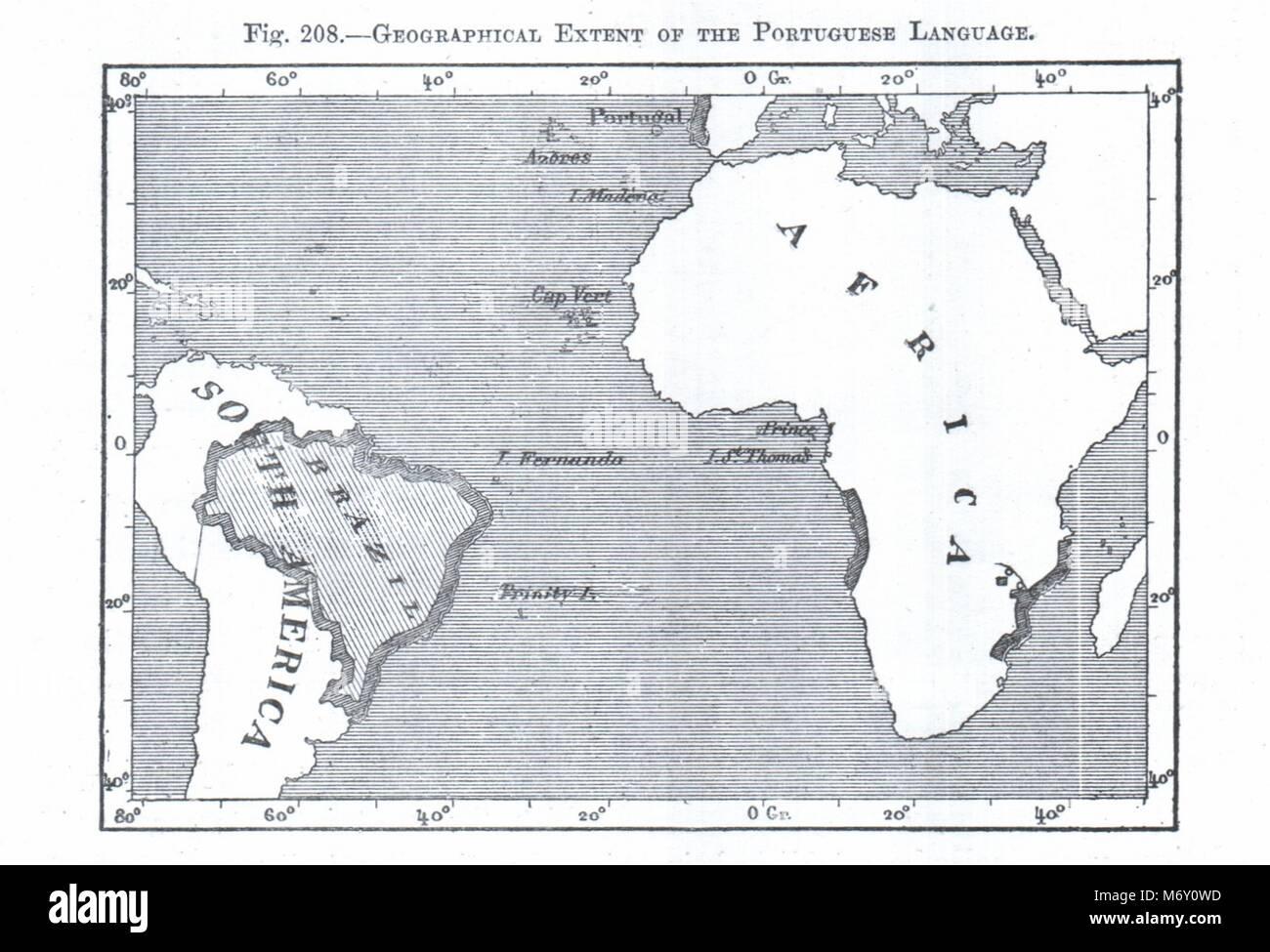Extensión geográfica de la lengua portuguesa. Brasil África. Croquis 1885 Foto de stock