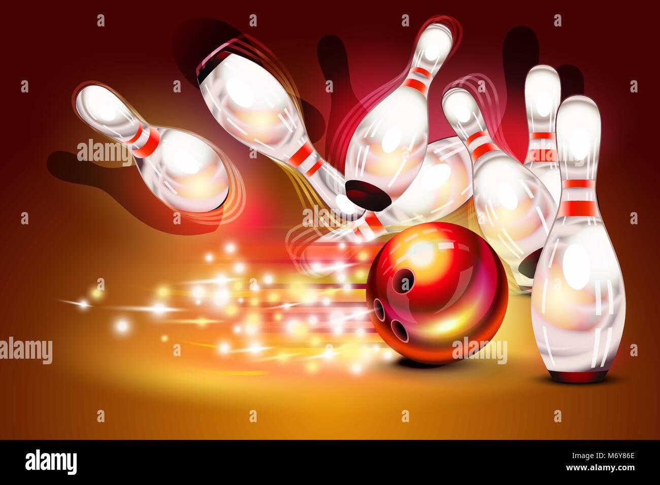 Juego de bowling strike sobre fondo rojo oscuro Imagen De Stock