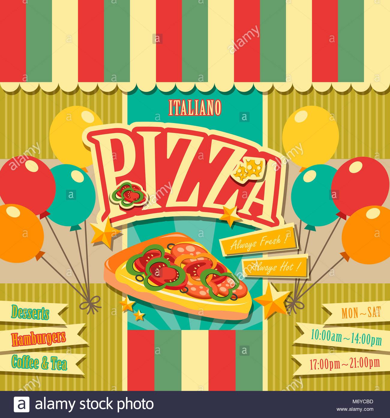 Vector pizzería menú plantilla diseño de portada de folleto Foto ...