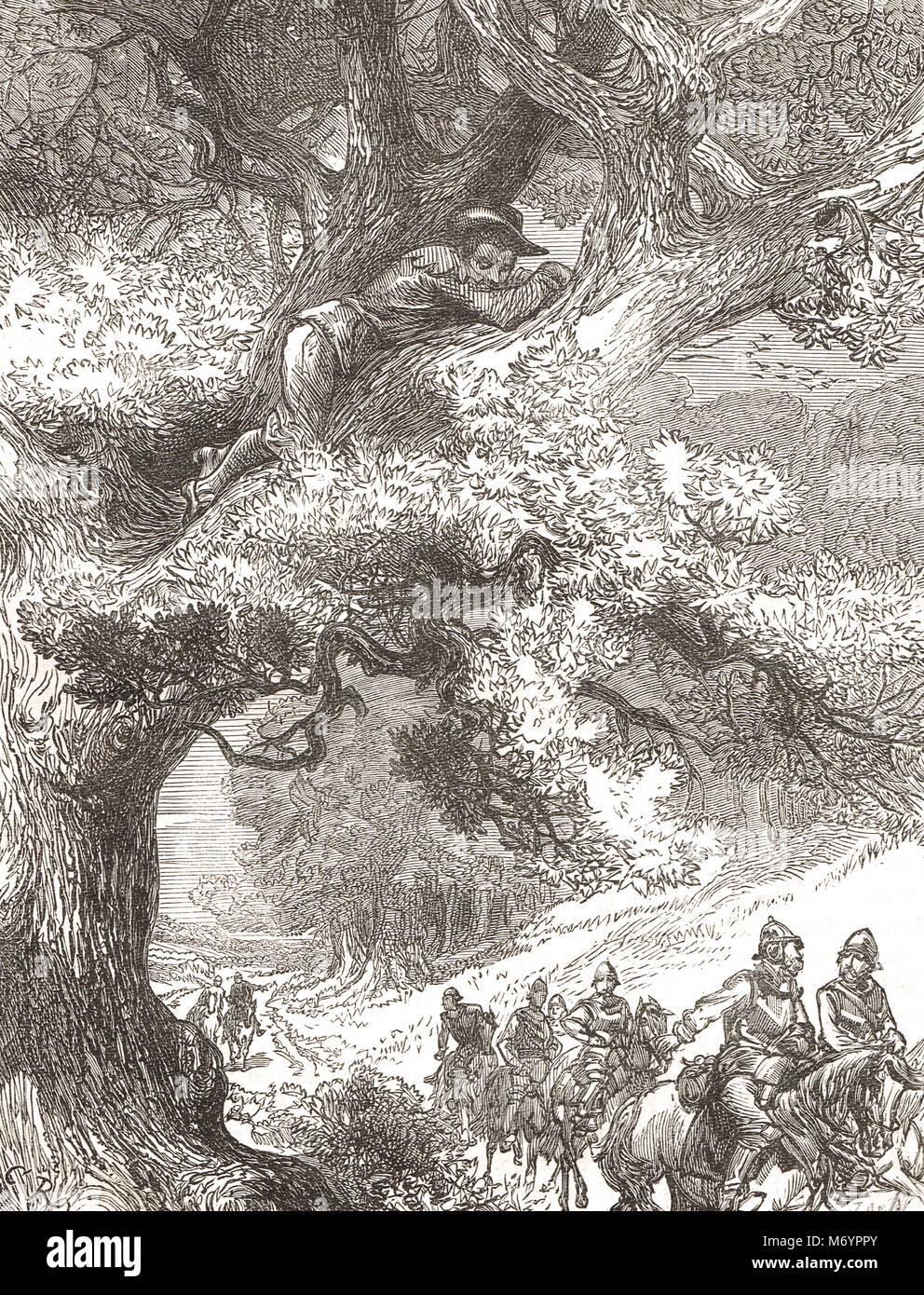 El príncipe Carlos, hijo de Carlos I, y el futuro Rey Carlos II, escondidos en el roble de 1651, tras la derrota Foto de stock