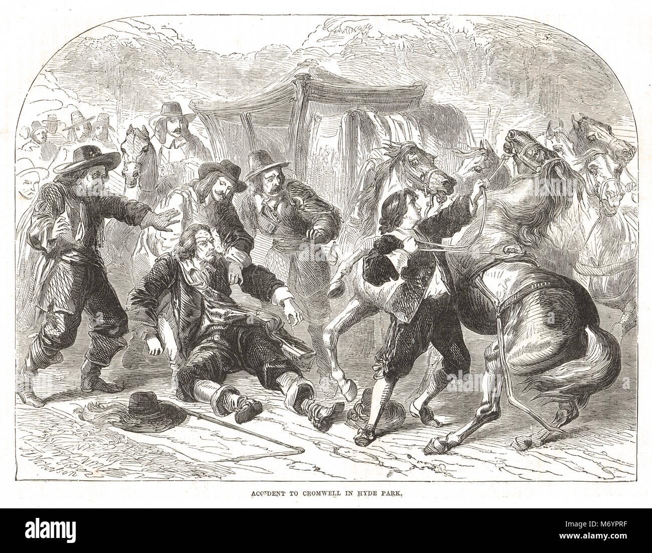 Oliver Cromwell el accidente a caballo en Hyde Park, Londres, Inglaterra, noviembre de 1654 Imagen De Stock