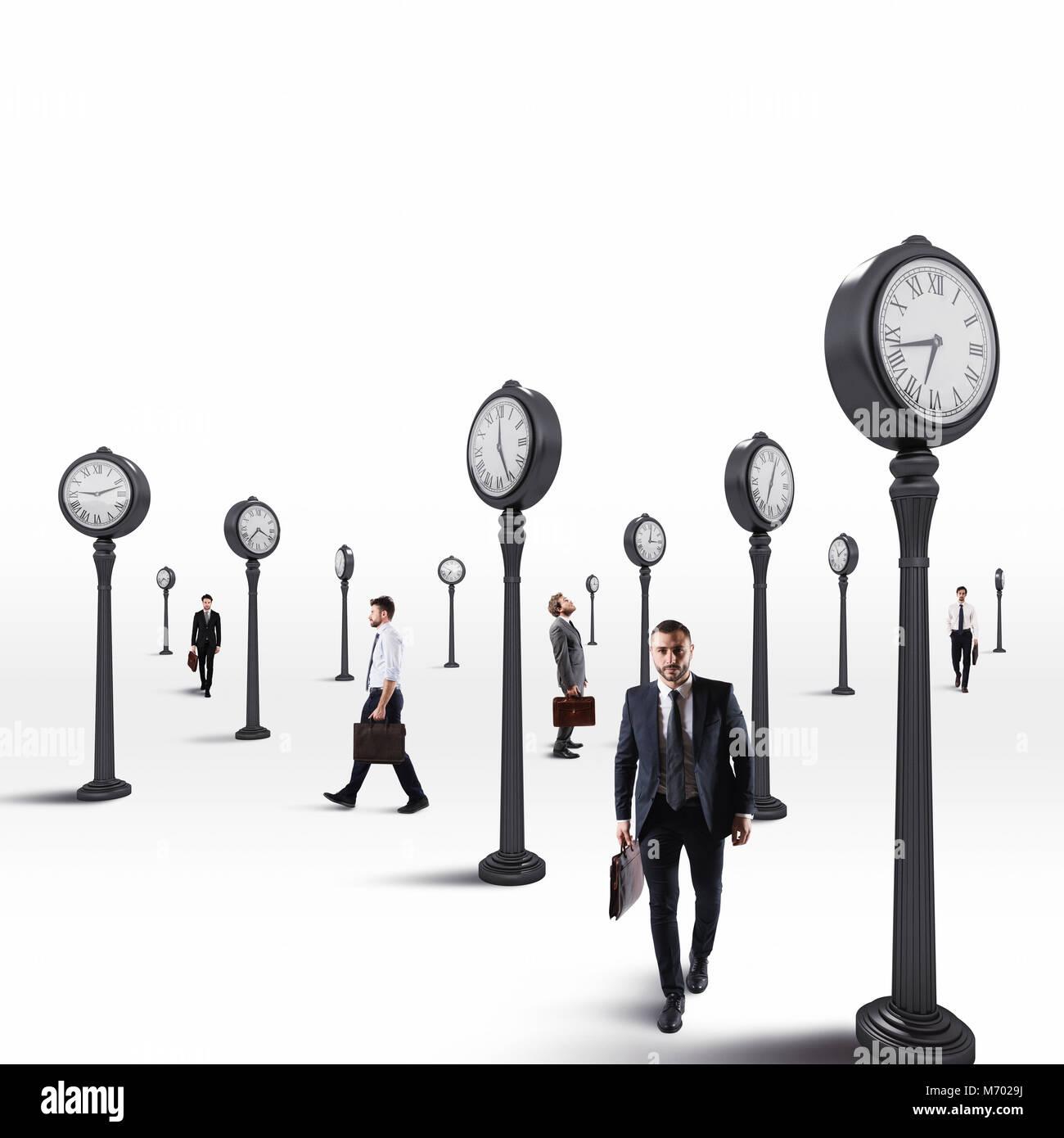 Los hombres de negocios siempre hay que mantener un ojo en el reloj. 3D Rendering Imagen De Stock