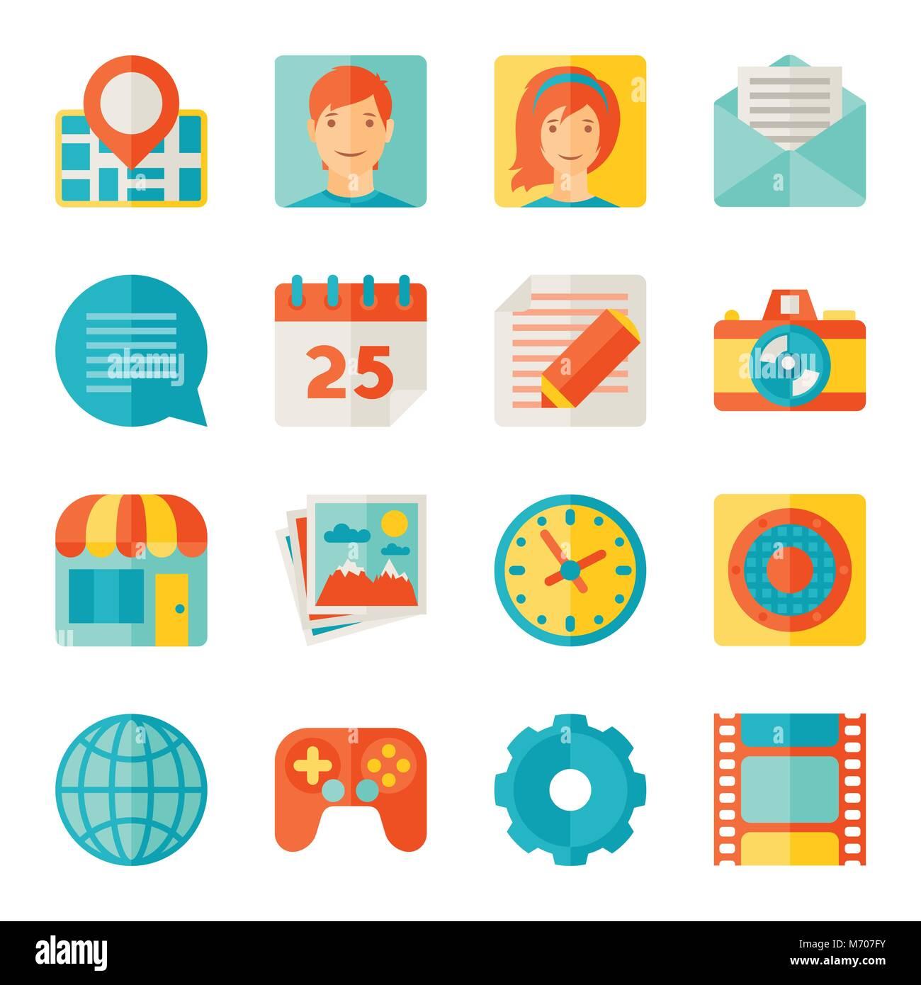 Iconos de aplicaciones móviles y web en el estilo de diseño plano Imagen De Stock