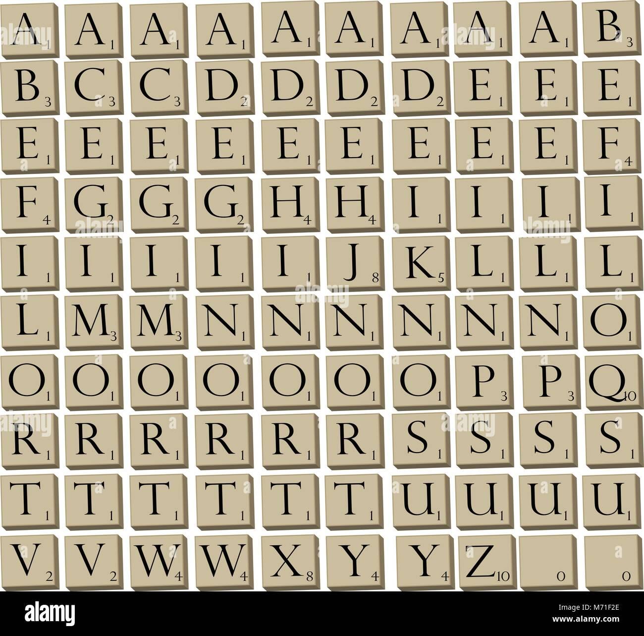 Juego Ilustrado Azulejos Para El Popular Juego De Palabras Scrabble