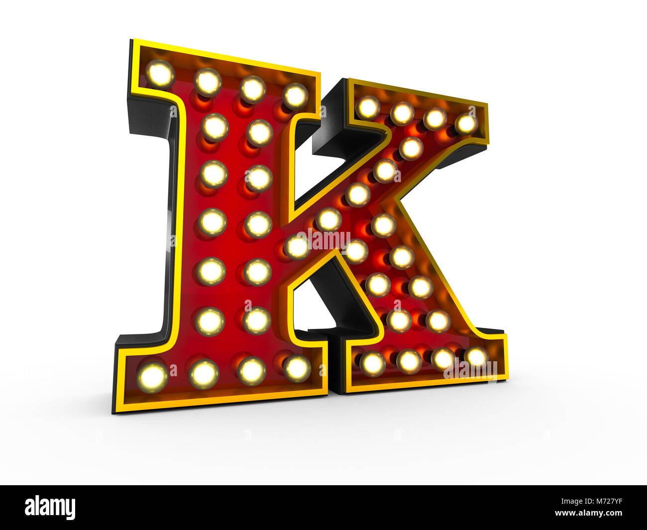 Ilustración 3D de alta calidad de la letra K en estilo Broadway con bombillas iluminando sobre fondo blanco. Imagen De Stock
