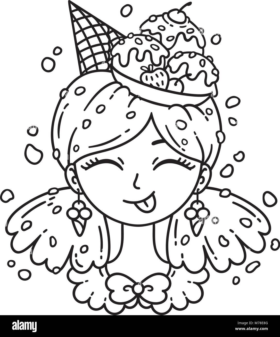 Los helados chica. Ilustración vectorial. Página para colorear ...
