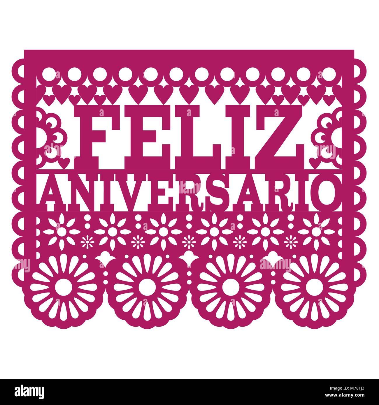 Feliz Aniversario Papel Picado diseño vectorial - Feliz Aniversario tarjeta de felicitación, el arte folklórico Imagen De Stock