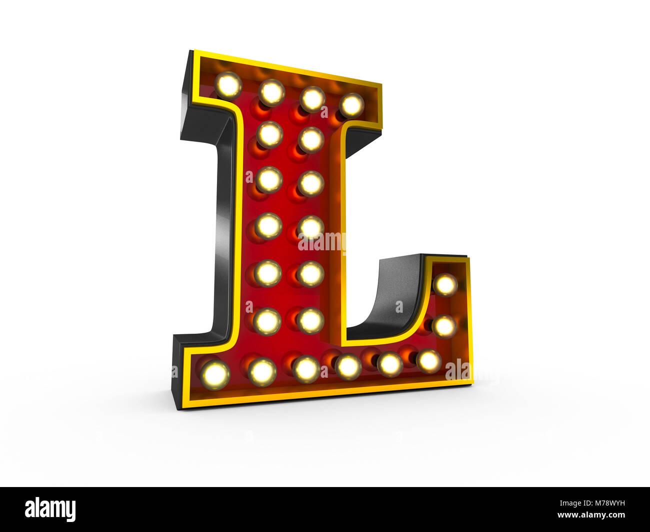 Ilustración 3D de alta calidad de la letra L en estilo Broadway con bombillas iluminando sobre fondo blanco. Imagen De Stock