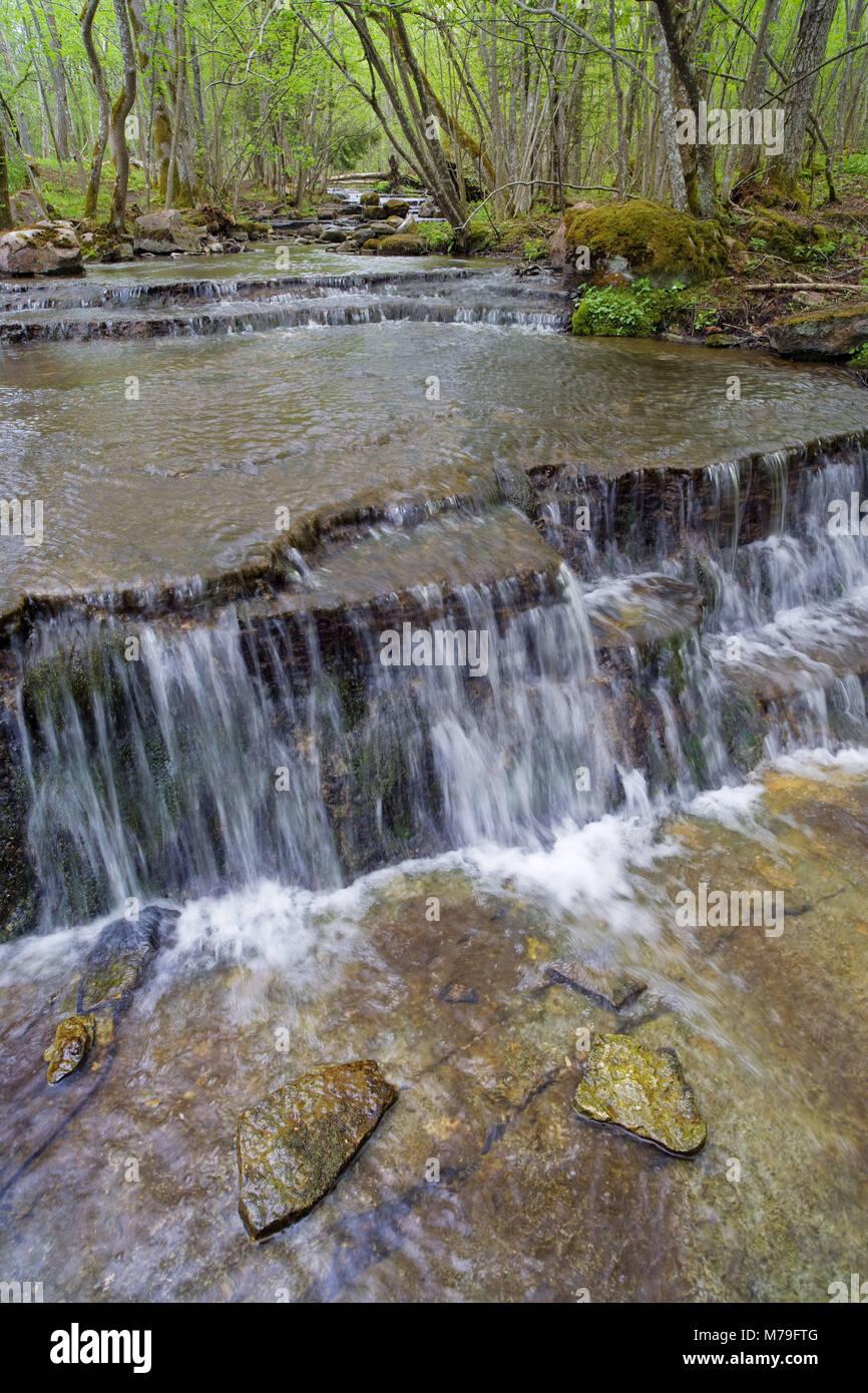 Suecia, Västergötland, Valle Härad, cascada, Foto de stock