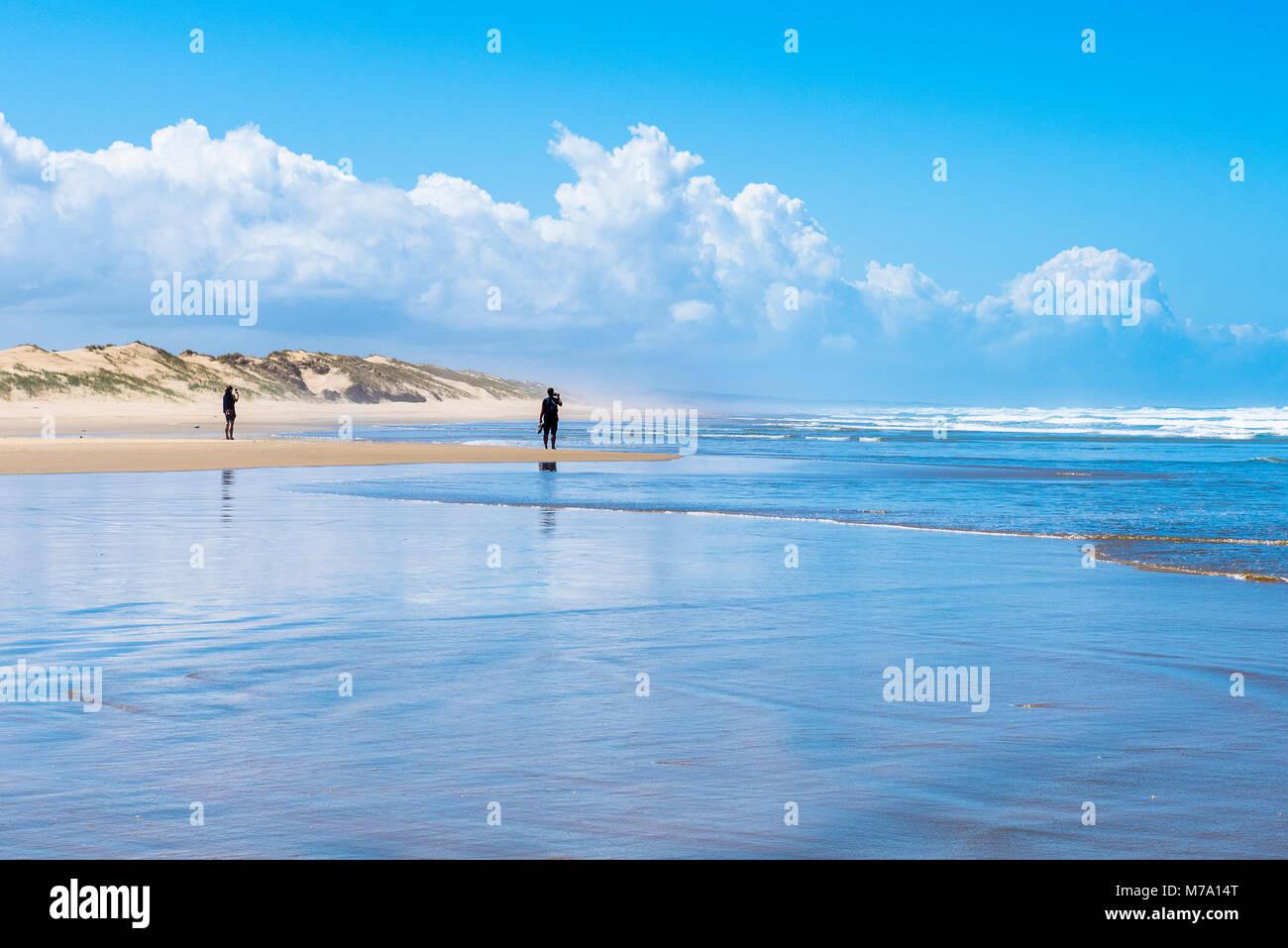Caminantes en 90 Mile Beach, North Island, Nueva Zelanda Foto de stock