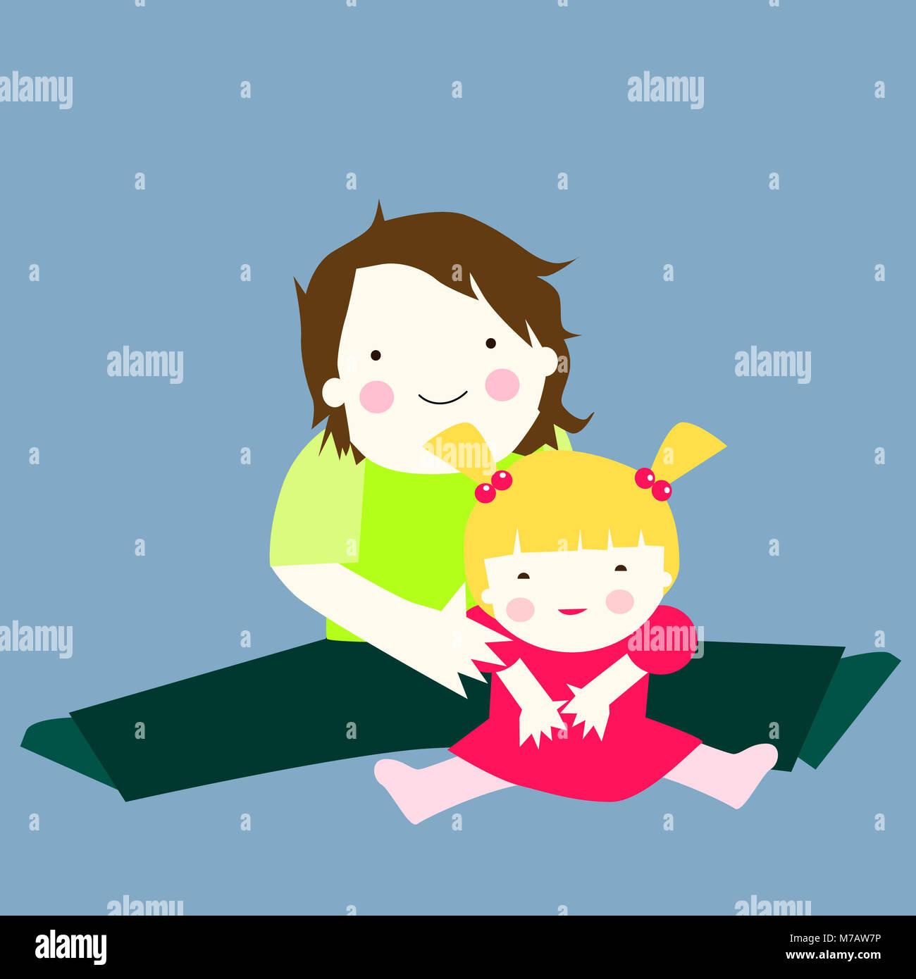 Retrato de un padre y su hija sentada con las piernas abiertas Imagen De Stock