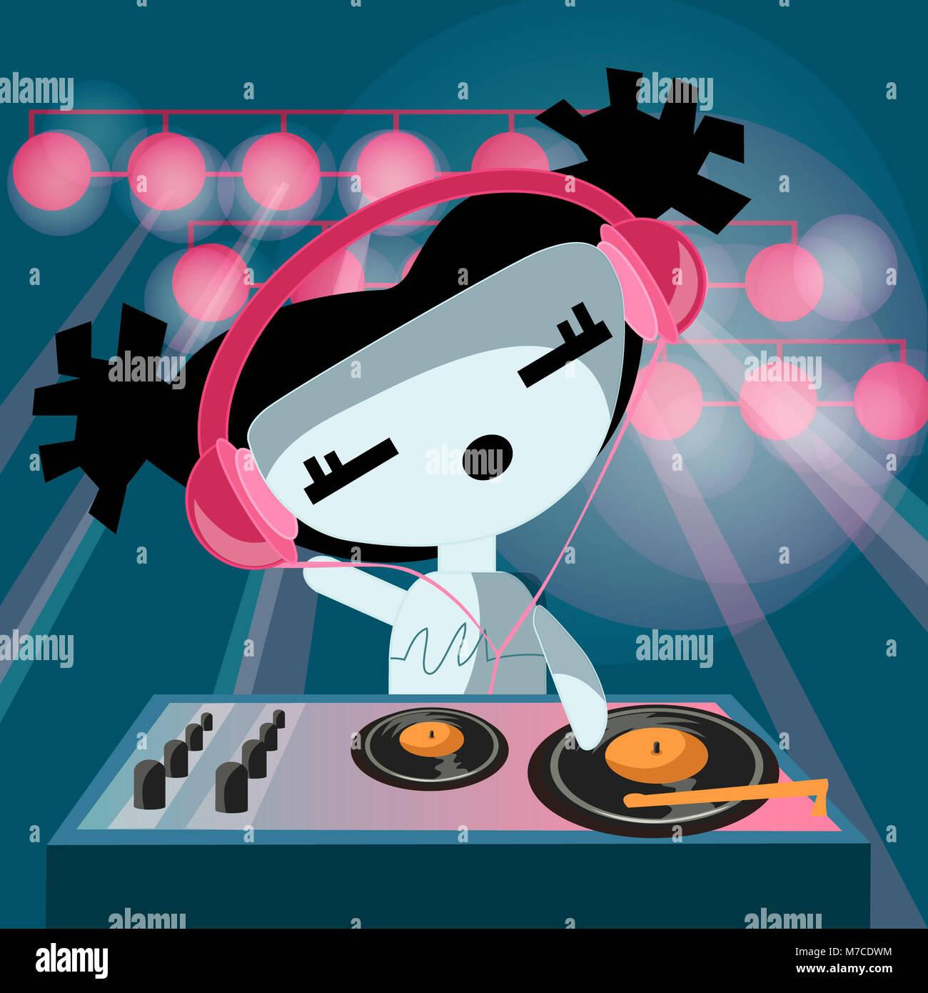 Close-up de un disc jockey usando audífonos y girando un registro Foto de stock