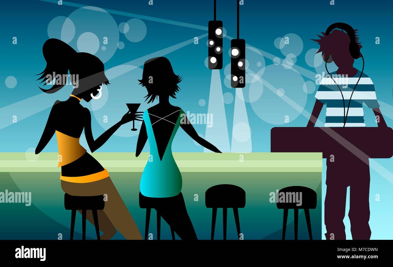 Dos mujeres sentadas en un mostrador de bar con un disc jockey reproduce música Foto de stock