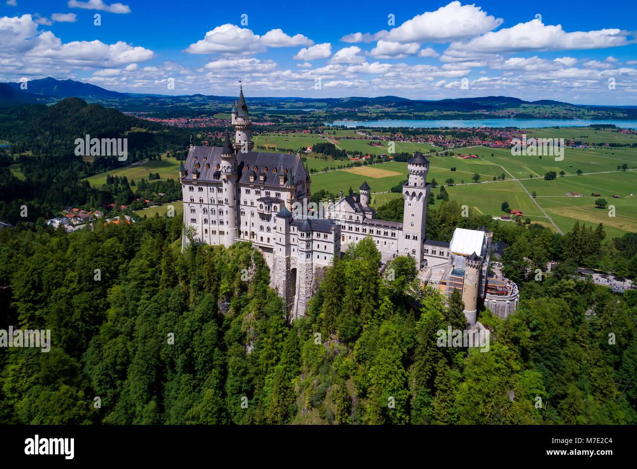 El castillo de Neuschwanstein Alpes de Baviera Alemania Imagen De Stock