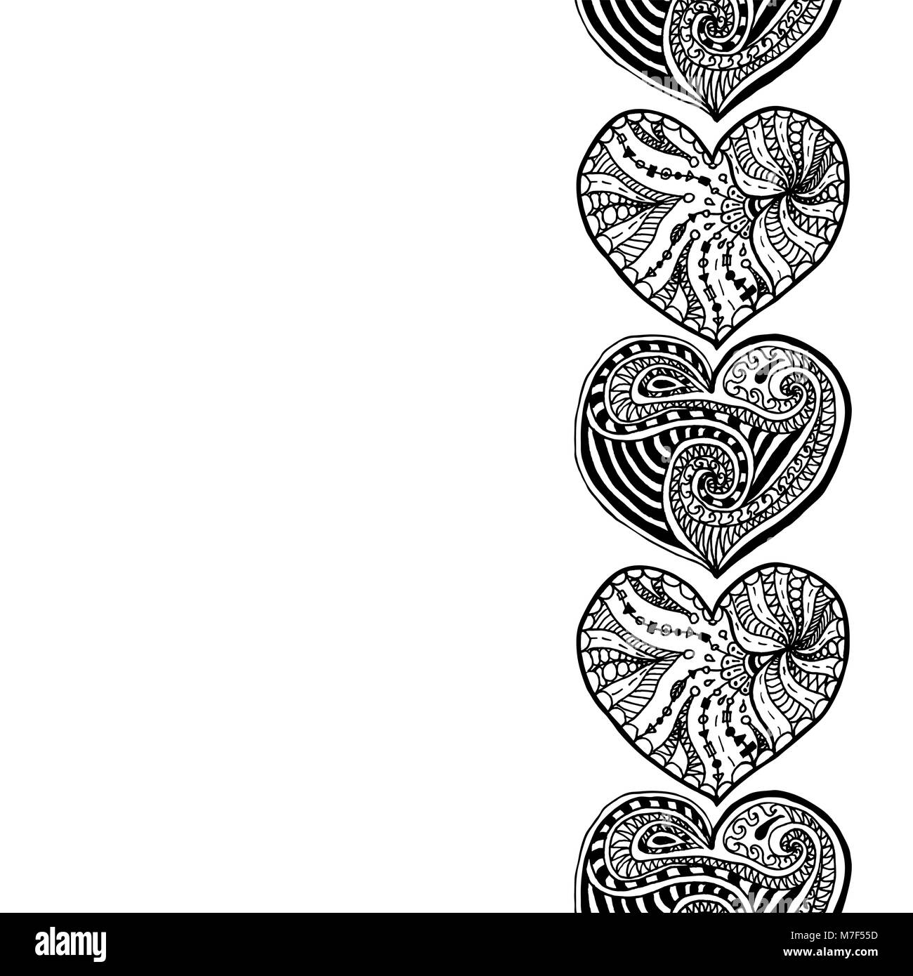 Vector Decorativo Borde Vertical Del Dibujo A Mano Alzada Corazones