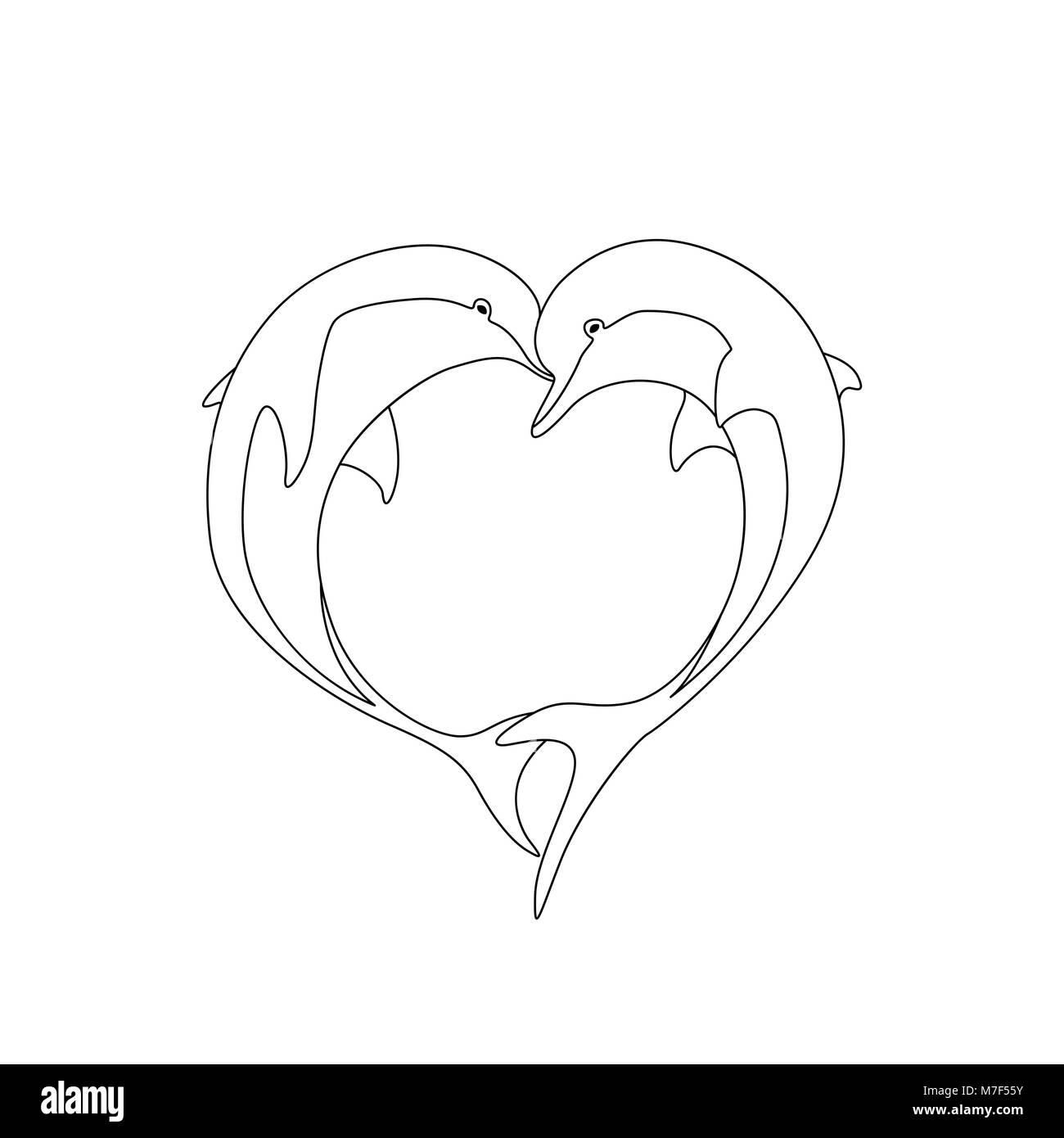 Contorno vectorial de dos parejas de delfines en el amor con forma ...