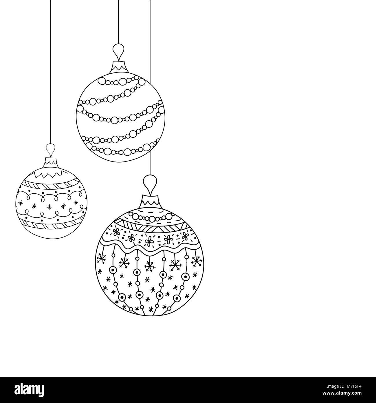 Bolas De Navidad Dibujos Para Colorear.Tarjeta De Invitacion De Navidad Vectores De Tres Bolas De