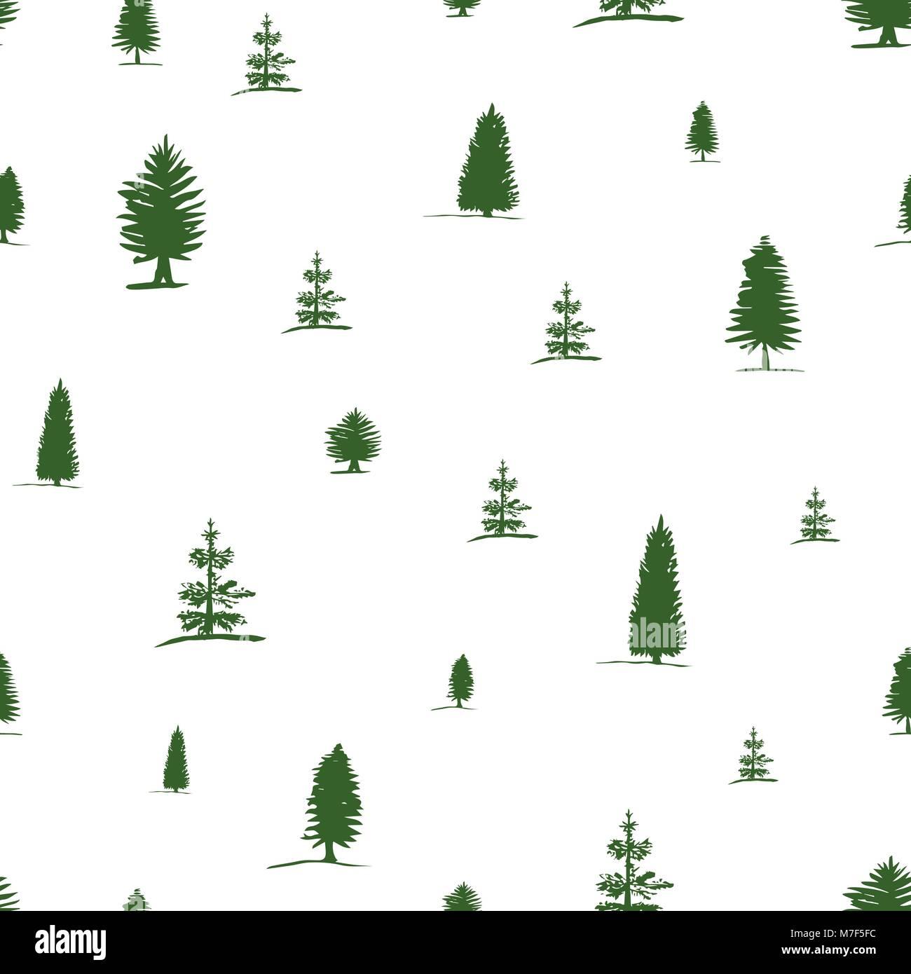 Vector Patrón Sin Fisuras De Dibujo A Mano Alzada Sketch árbol