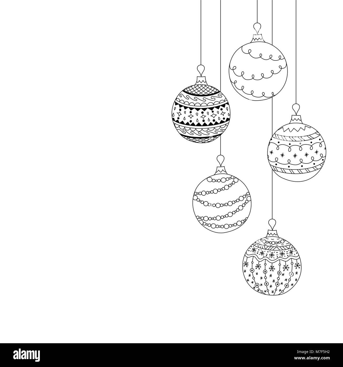 Bolas De Navidad Dibujos Para Colorear.Tarjeta De Invitacion De Navidad Vectores De Cinco Bolas De