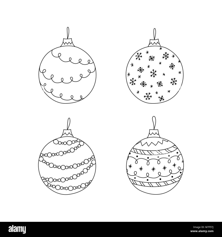 Imagenes Bolas De Navidad Para Colorear.Conjunto De Vectores Dibujados A Mano Bolas De Navidad De