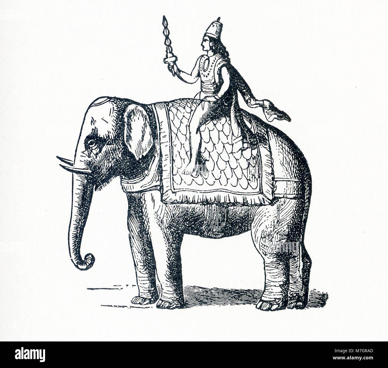 Esta ilustración que data de 1898 y muestra la deidad Indra. En el hinduismo, Indra es un deity vedic. En el budismo, Foto de stock