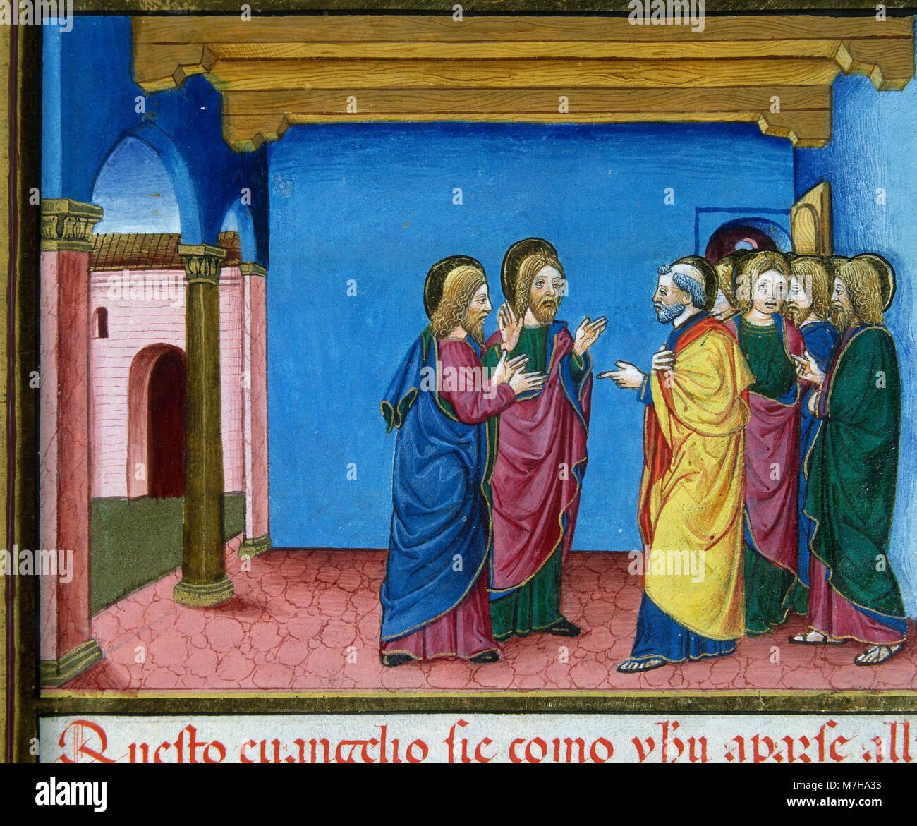 Los discípulos van a Jerusalén, por orden de Jesús, digan qué ocurridas. De Predis Codex, 1476. Biblioteca Real. Foto de stock