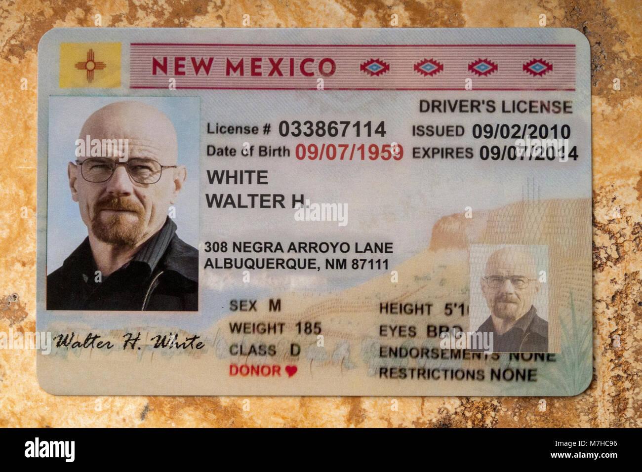 """Postal de la licencia del conductor de 'WALTER BLANCO"""" aka Heisenburg Imagen De Stock"""