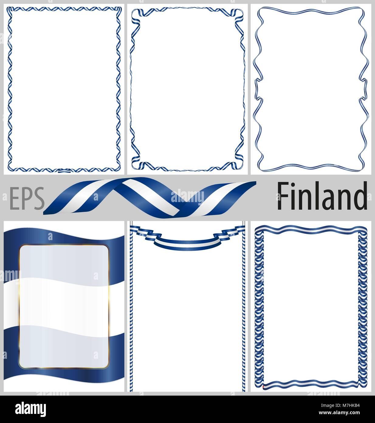 Conjunto de 6 marcos y bordes con bandera de Finlandia para colorear ...