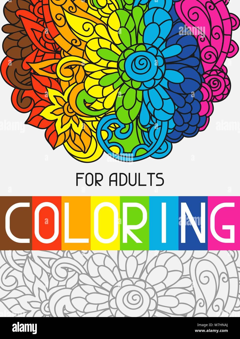 Libro para colorear de adulto para el diseño de la cubierta ...