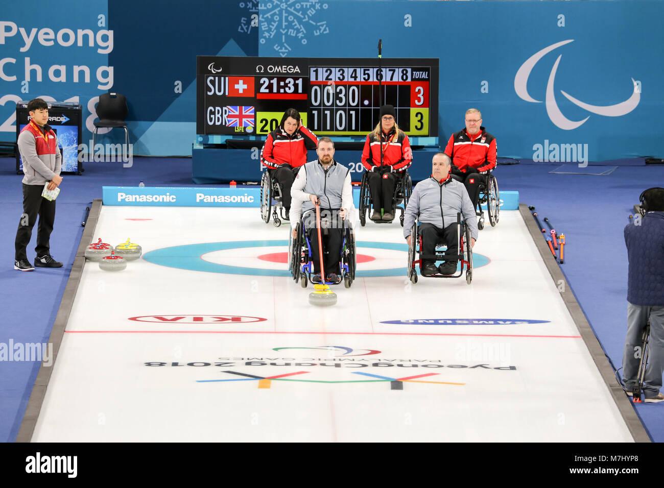 Pyeongchang, Corea del Sur. 11 de marzo de 2018. Curling competencia ...