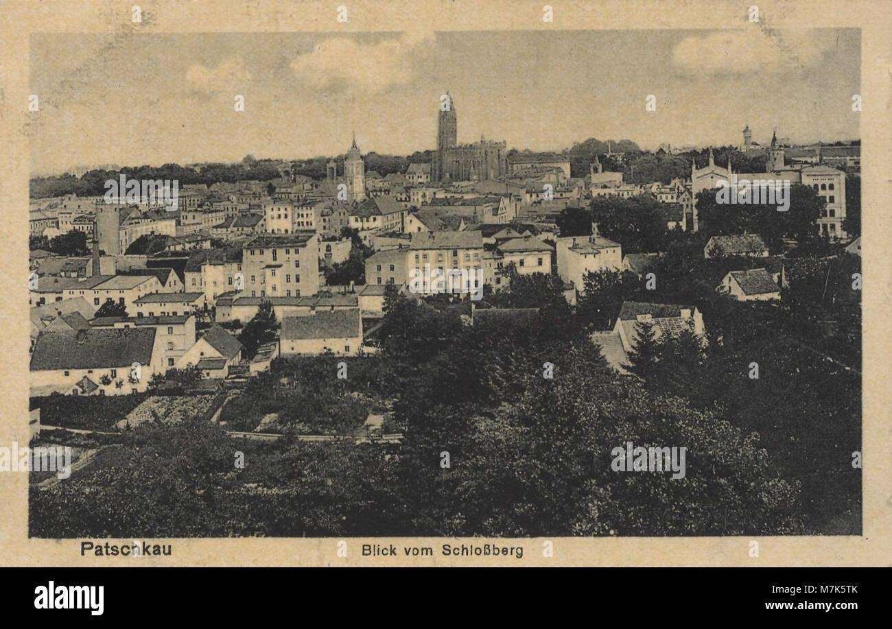 Patschkau, Schlesien - Stadtansicht vom Schlossberg (Zeno Ansichtskarten) Foto de stock