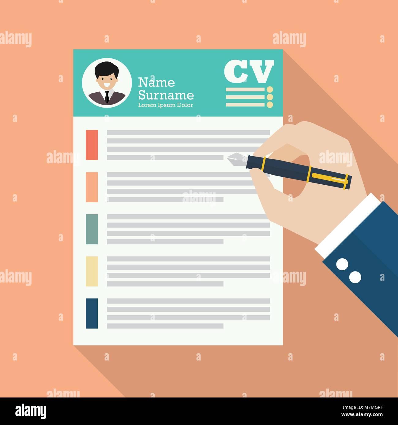 Escritura a mano Curriculum Vitae aplicación hoja de papel ...