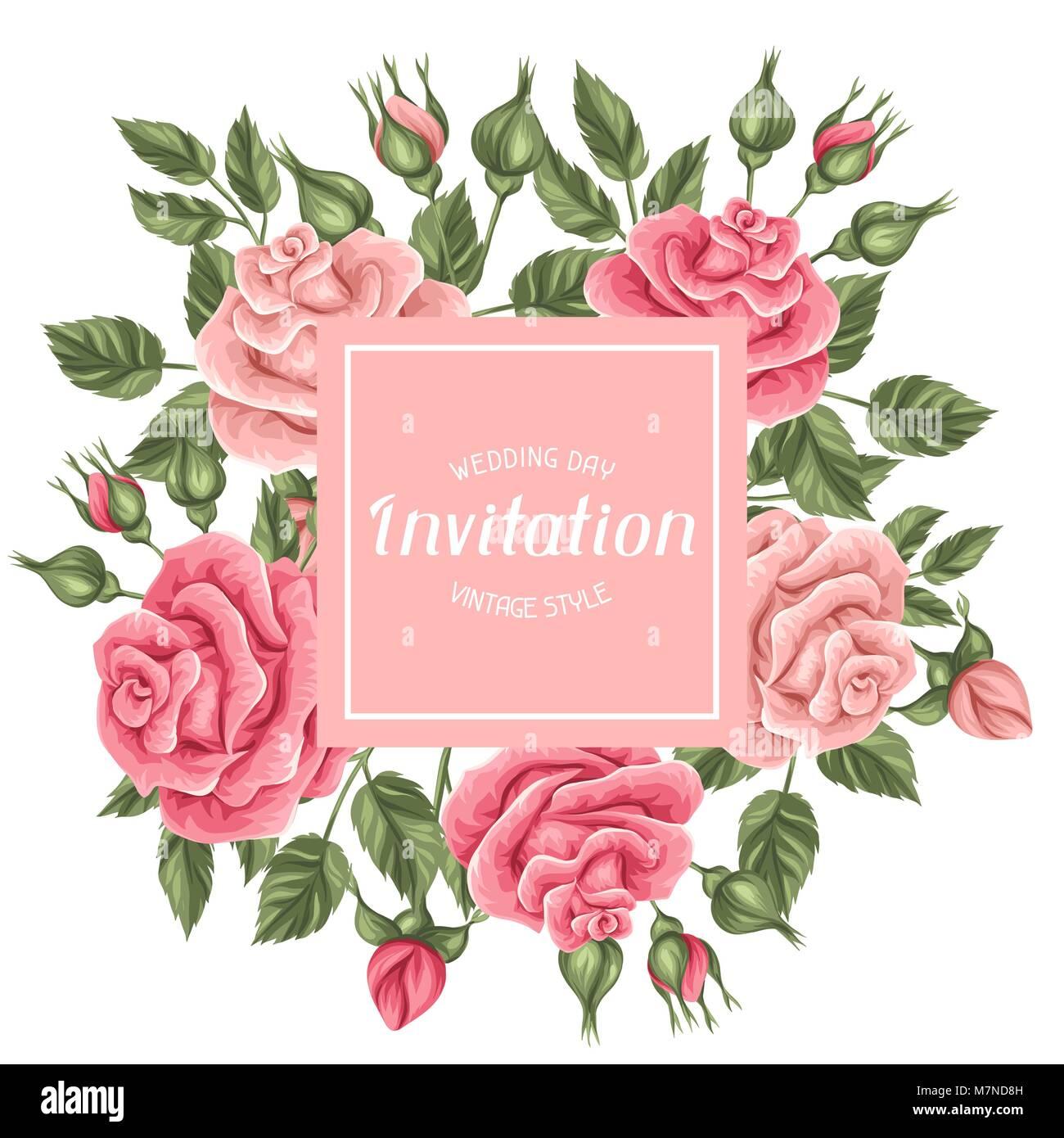 Tarjeta De Invitación Con La Cosecha De Rosas Retro