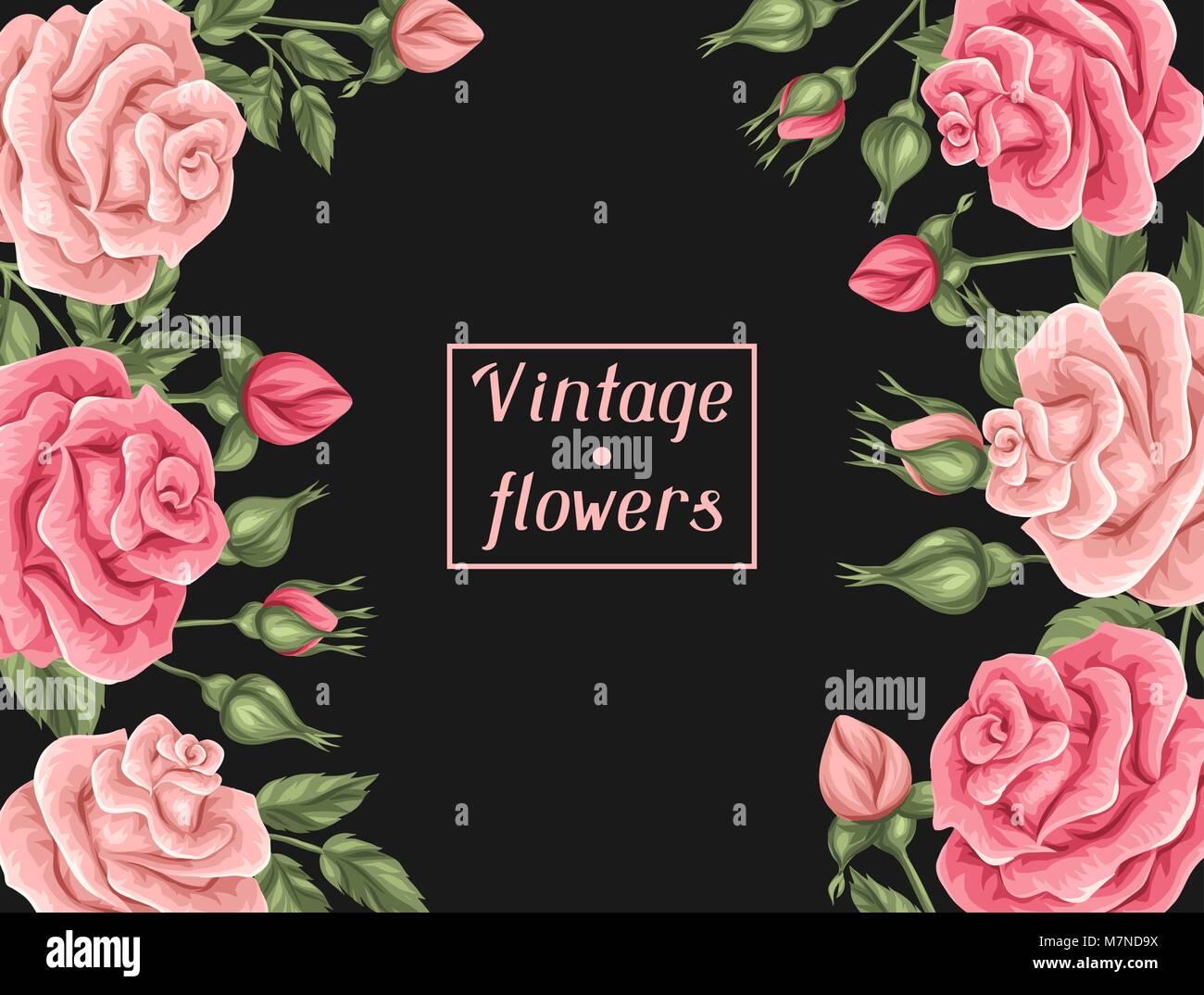Fondo Con Vintage Roses Retro Decorativas Flores Imagen