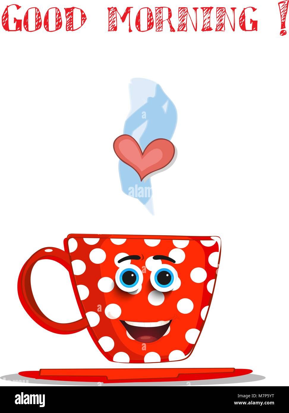Cute Dibujos Animados Taza Sonriente Rojo Con Lunares Blancos Patron