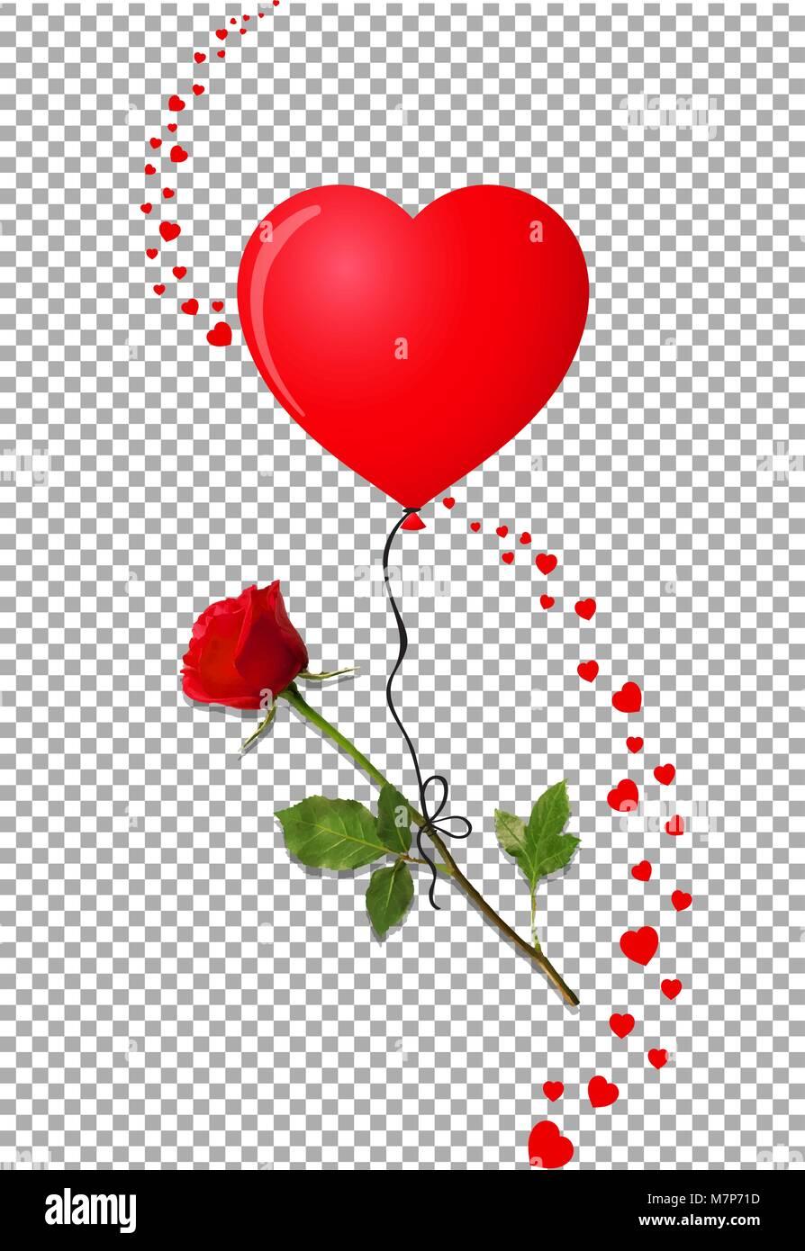 Flor De Rosa Roja Volando En Globo De Helio En Forma De Corazón Rojo