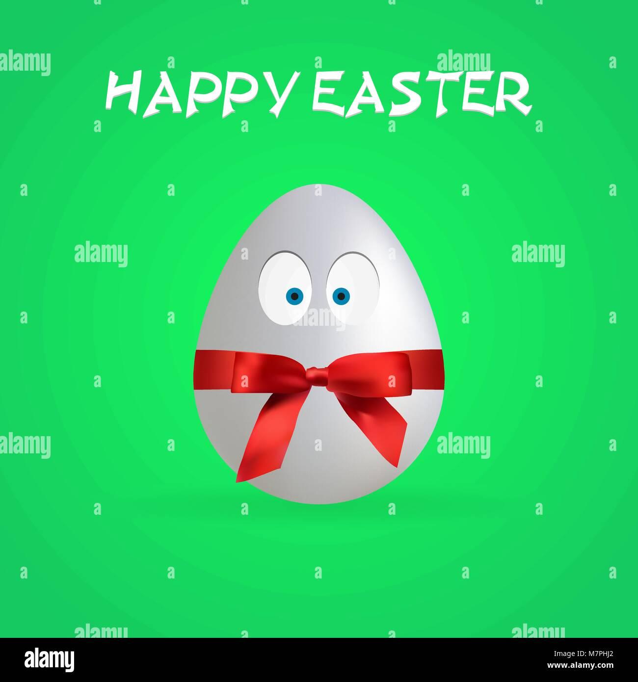 Huevo de Pascua feliz simple cartel, Vector, la ilustración, el archivo Eps Imagen De Stock