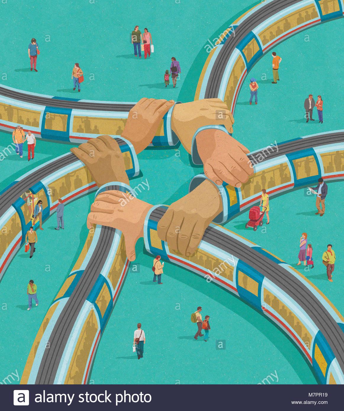Los trenes la interconexión como brazos conectados Imagen De Stock
