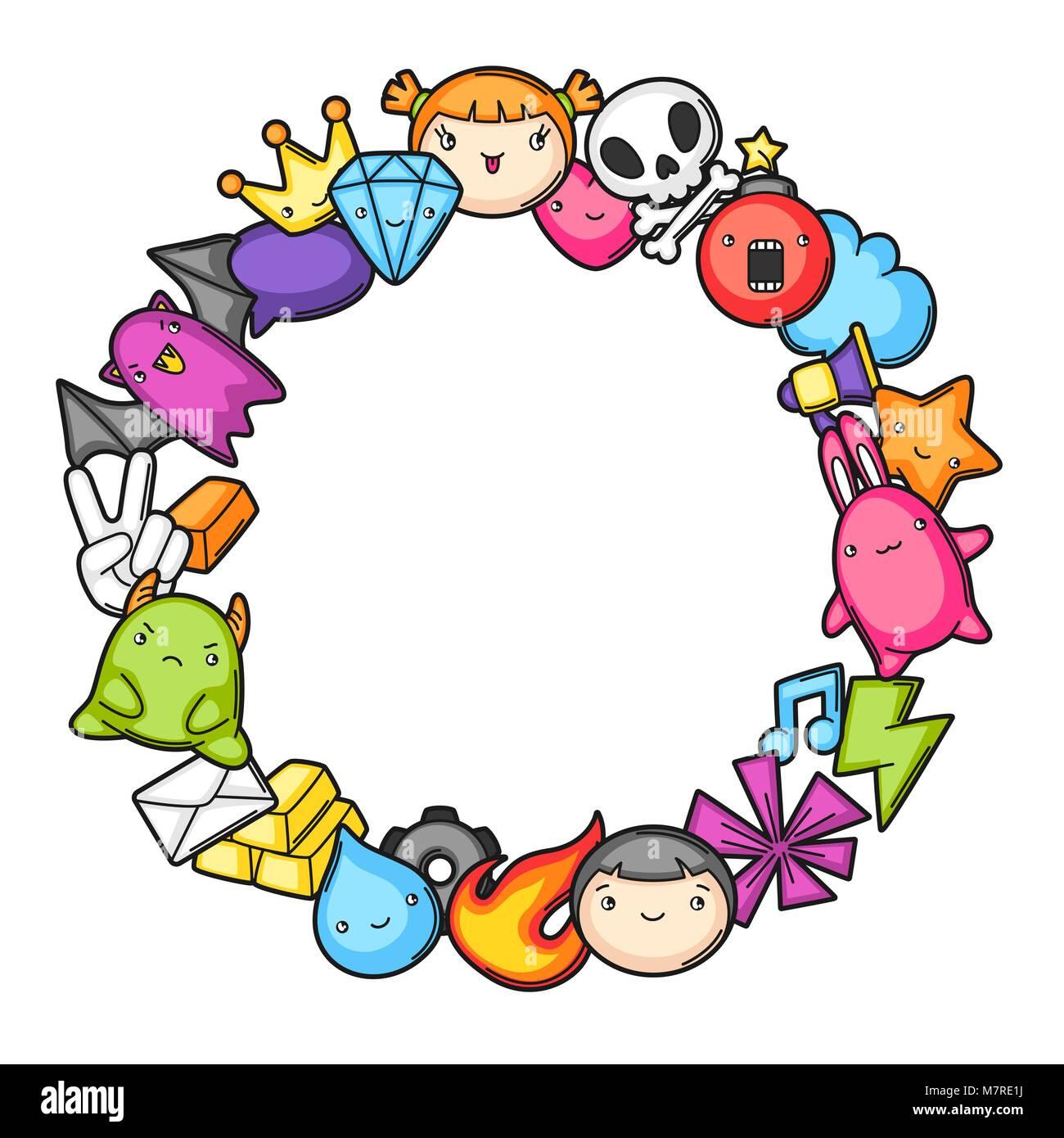 Juego Kawaii Bastidor Elementos De Diseno De Juegos Cute Objetos Y