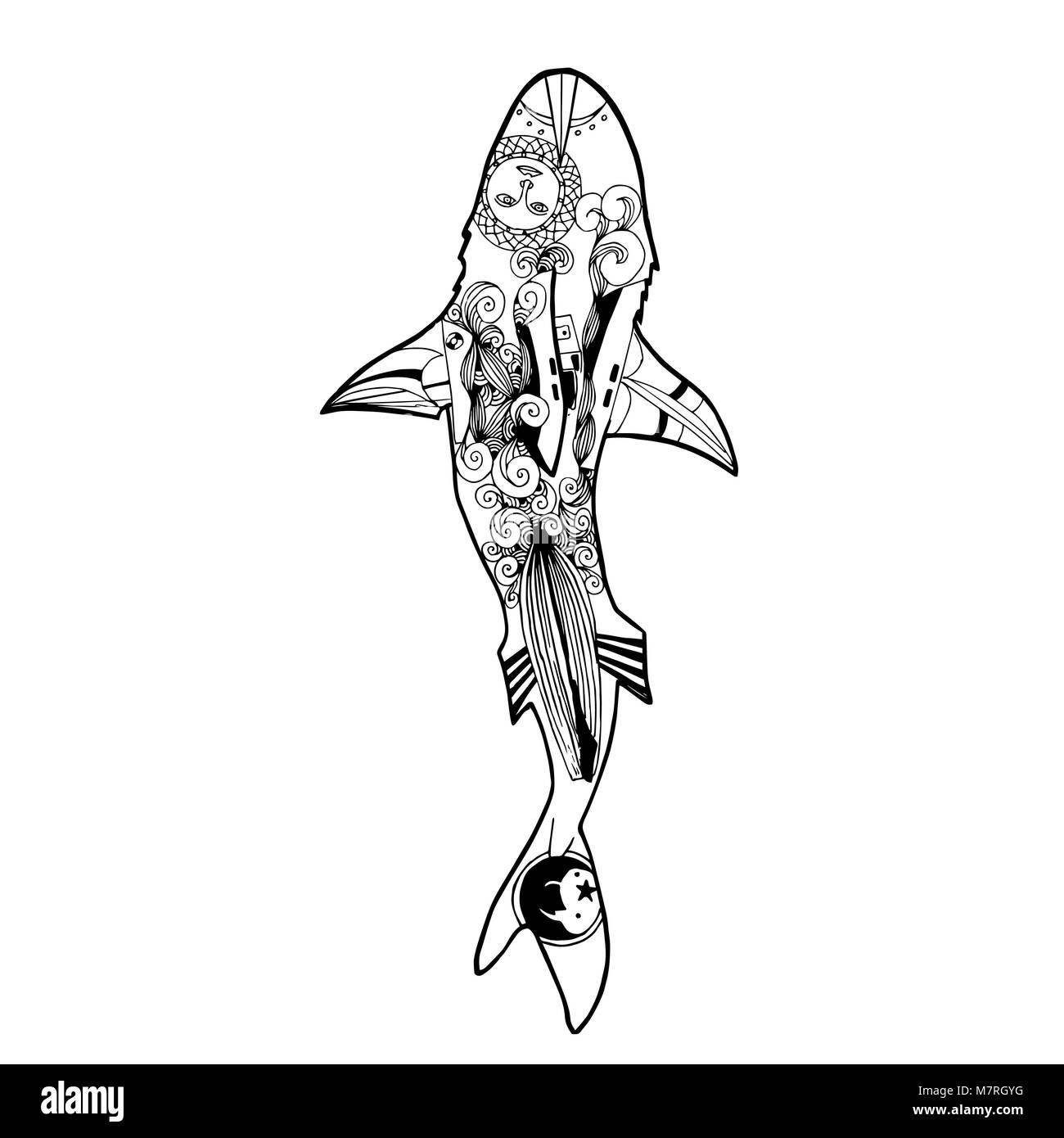 Ilustración vectorial de zentangle tiburón. Libro para colorear de ...