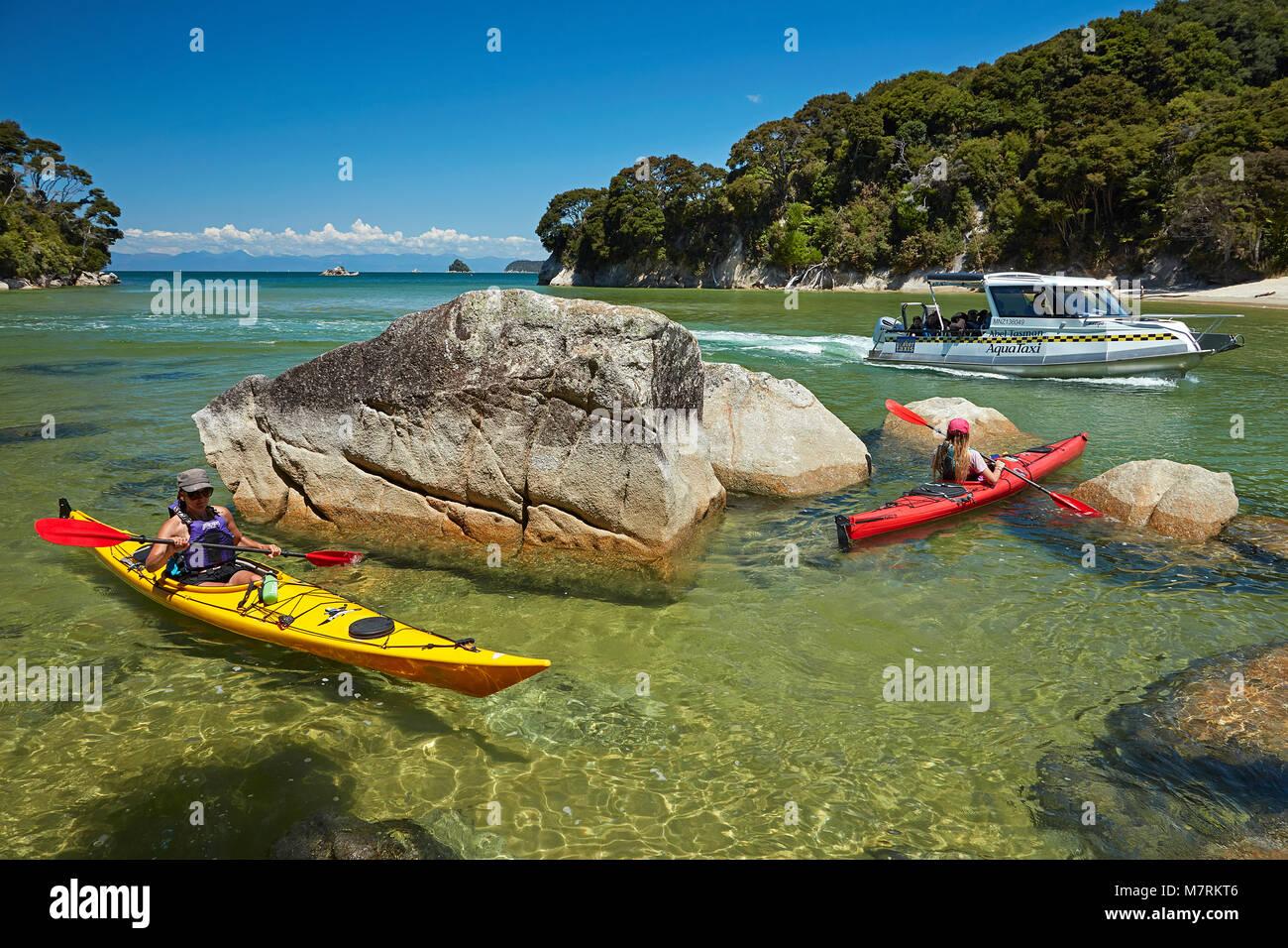 Los palistas y taxi acuático, Bahía de mosquitos, Parque Nacional de Abel Tasman, Nelson, Isla del Sur, Nueva Zelanda (modelo liberado) Foto de stock