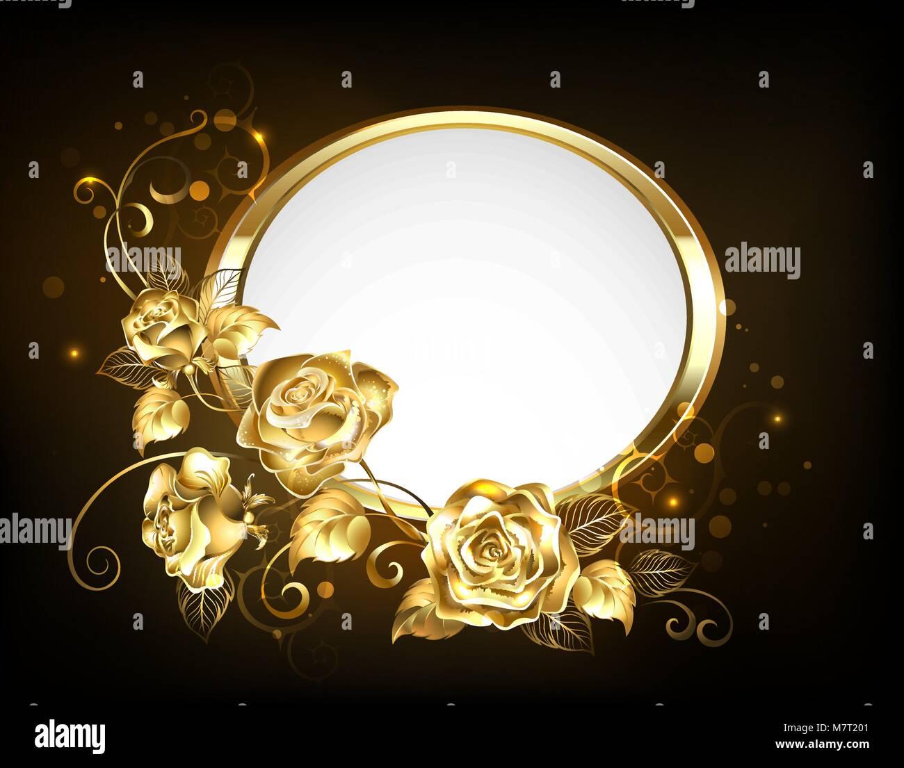 Banner Oval con marco dorado adornada de oro, piedras preciosas ...