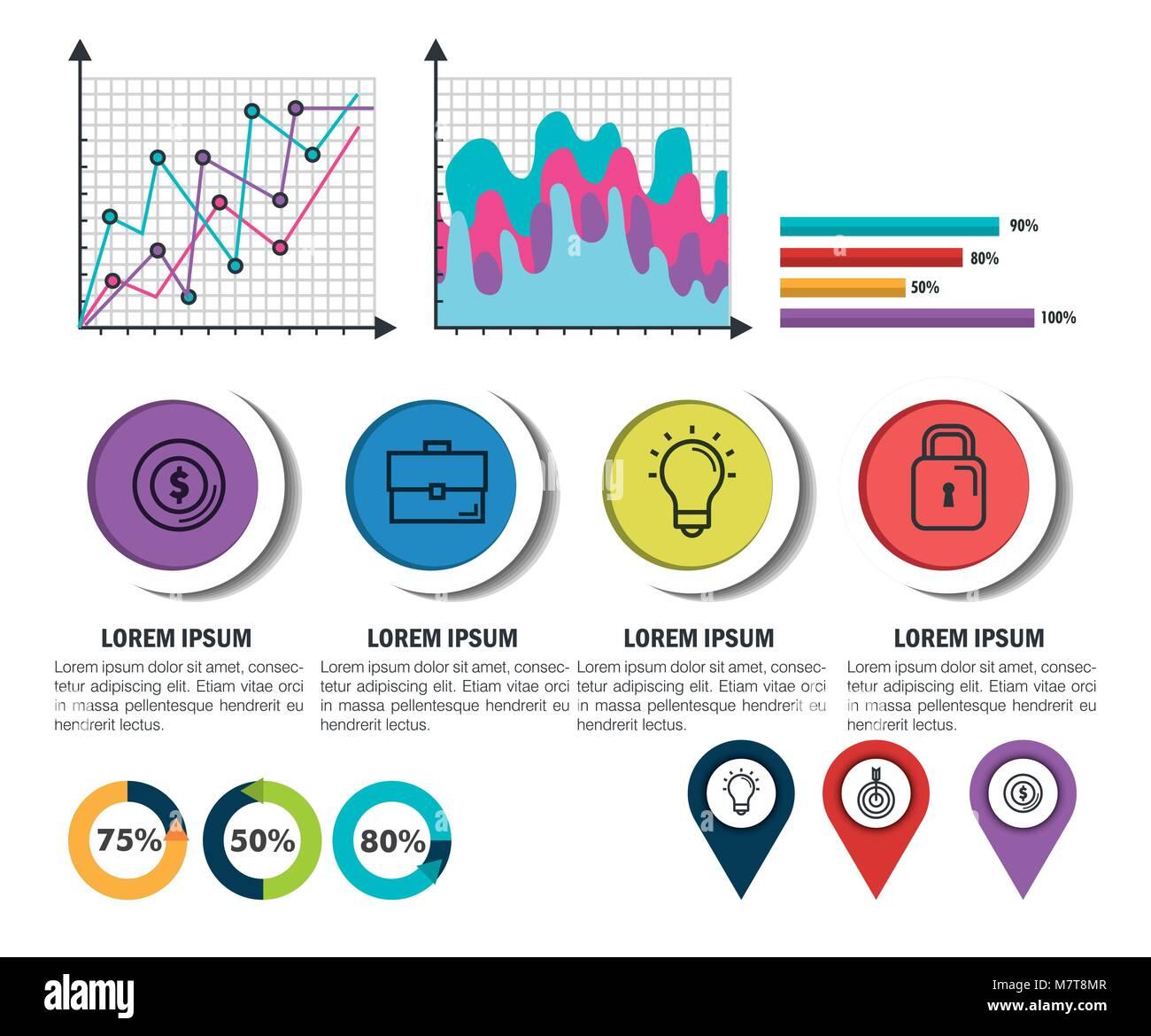Infografía de negocios plantillas de iconos Ilustración del Vector ...