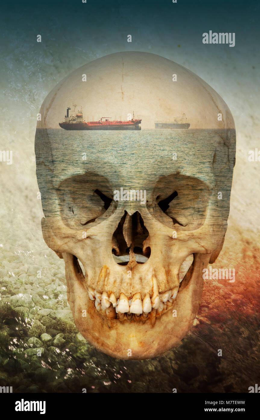 Foto montaje conceptual mostrando una calavera, la muerte, los barcos y el mar. Imagen De Stock