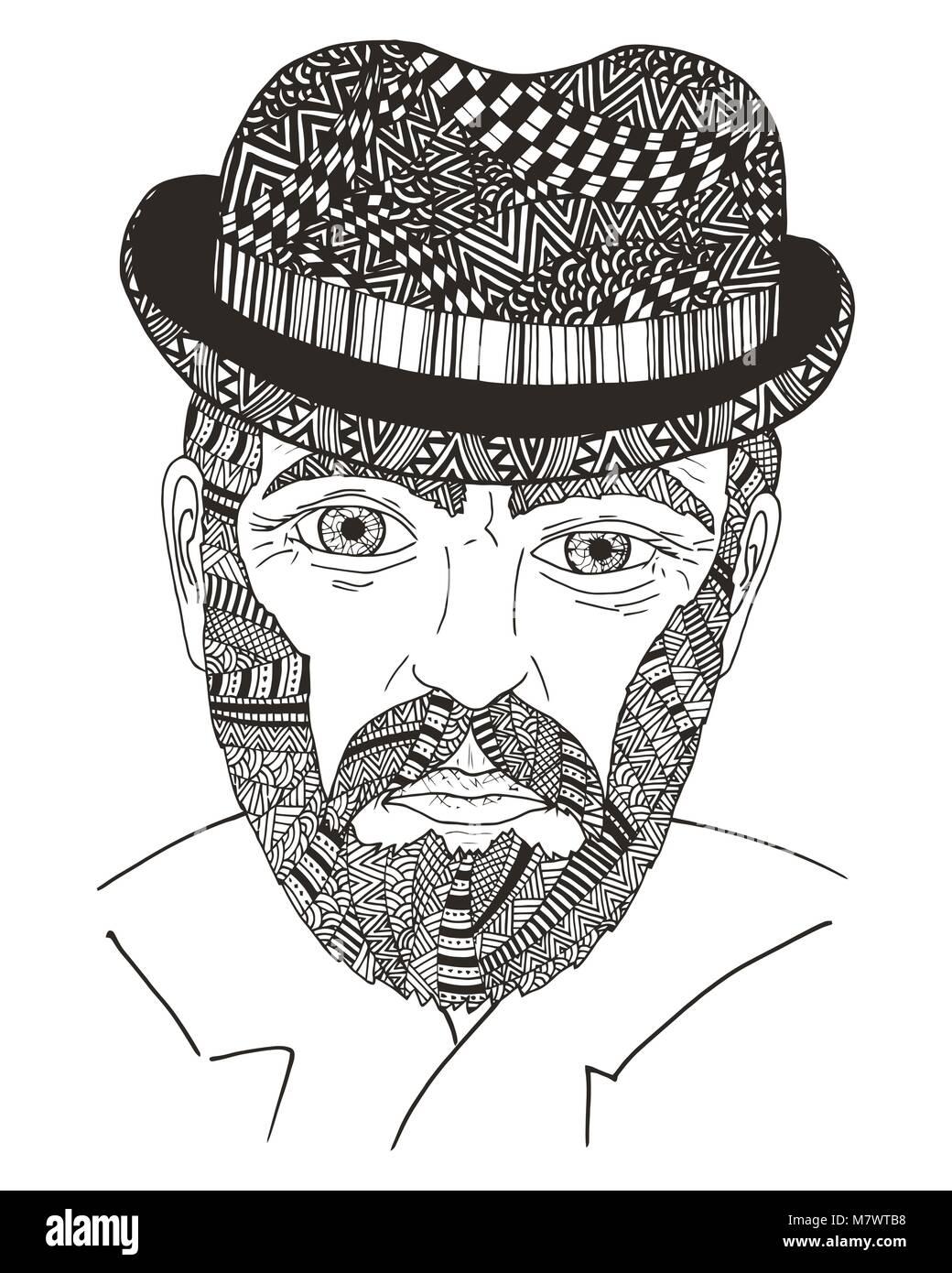 Tienen el blues. Maraña Zen y doodle viejo hombre. Zentangle retrato ...