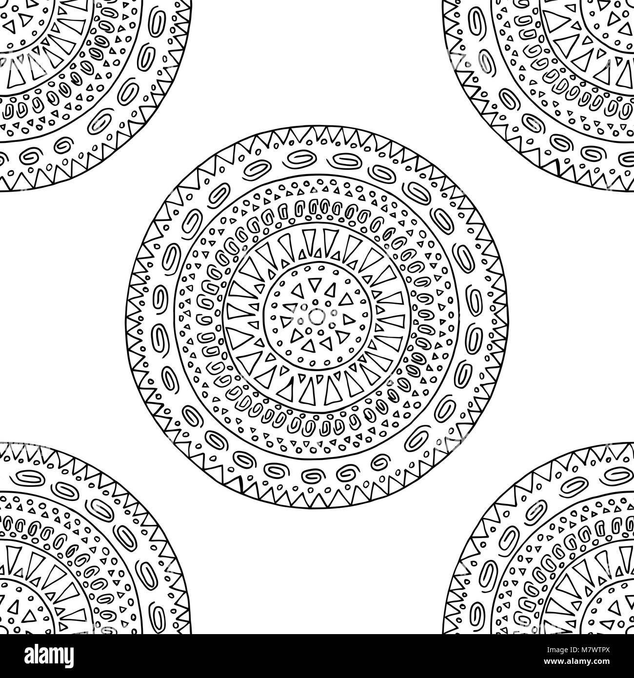 Estilo Boho ilustración vectorial. Libro para colorear para adulto ...