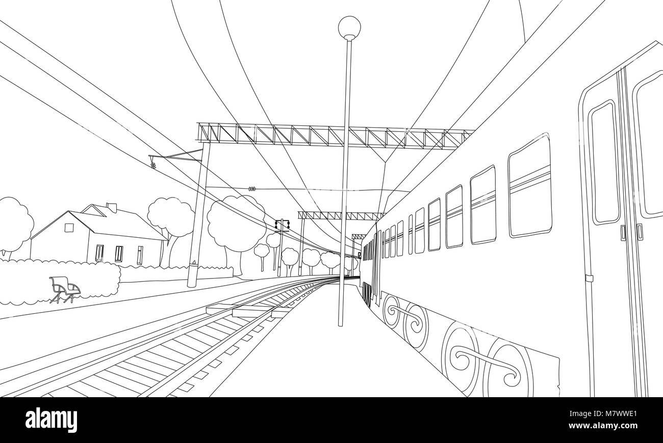 Libro para colorear el tren en la plataforma. Ilustración vectorial ...