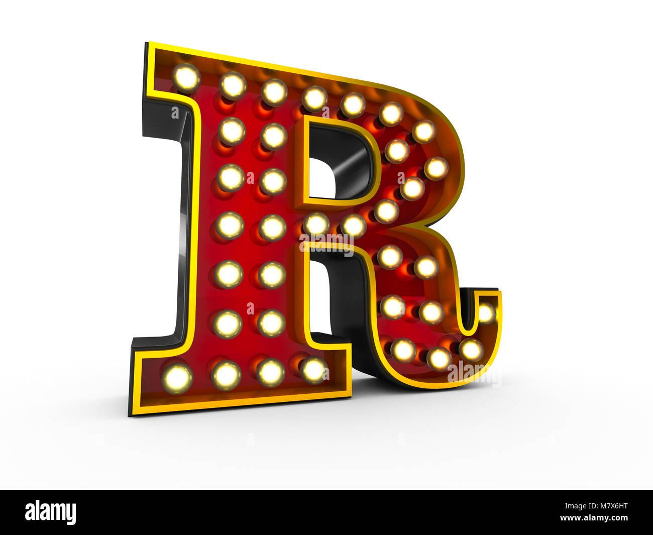 Ilustración 3D de alta calidad de la letra R en estilo Broadway con bombillas iluminando sobre fondo blanco. Imagen De Stock