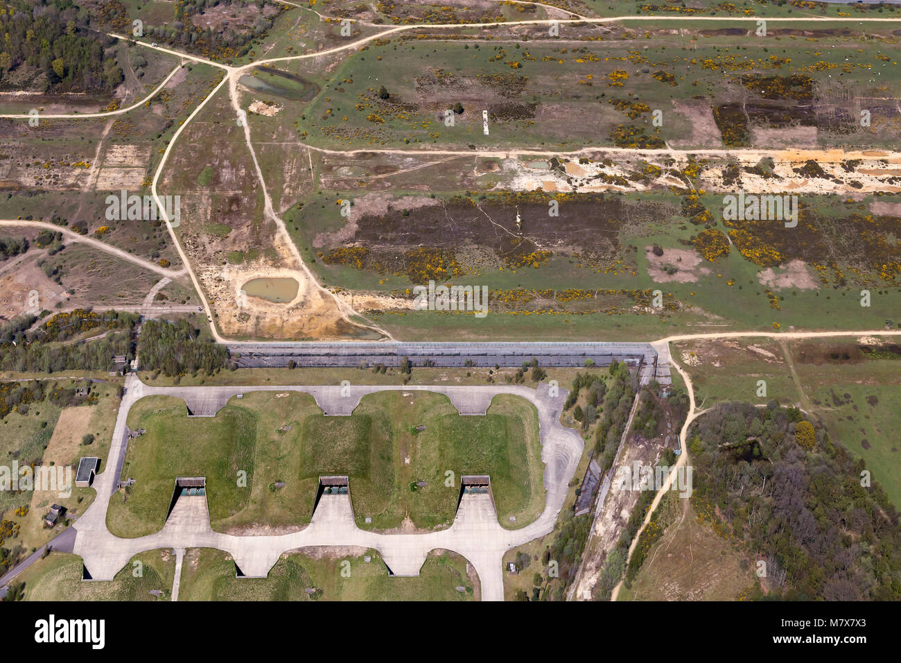 RAF Greenham Common, una antigua estación de la Royal Air Force en Berkshire, Inglaterra. Escenario de numerosas Imagen De Stock